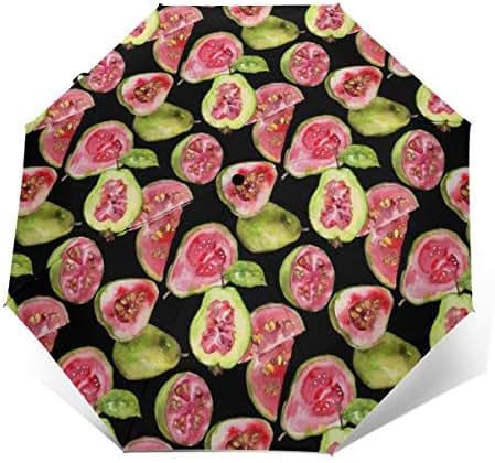 Guava Healthy Pattern Umbrella Windproof Travel Umbrella Compact Automatic Folding Waterproof Anti UV Sun Protection