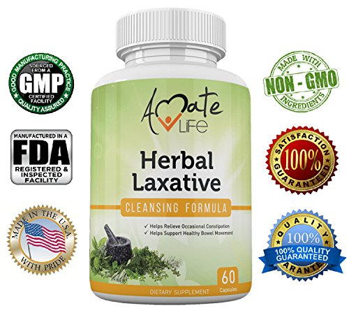 Herbal Laxative Cleansing Formula- All-Natural Laxative Capsules- Help with Occasional Constipation- Promotes Regularity- Probiotics Source- Healthy Digestive System- Non-GMO- 60 Capsules - Laxative Psyllium Husk