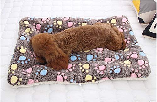 (KJLM Pet Mat Pet Beds Super Plush Dog & Cat Beds Ideal for Dog Crates Anti-Slip Machine Washable Pad Dog Crate Pad Pet Bed (Coffee Color Footprint))