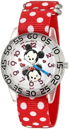 Disney Girl's 'Mickey Mouse' Quartz Plastic and Nylon Casual Watch, Color:Red (Model: W003002)