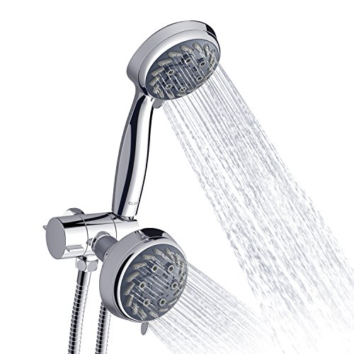 CLOFY Shower Head, 30-Setting High Pressure Handheld Shower Head With Hose And Holder, Handheld-Shower Combo Chrome Shower Faucet ()