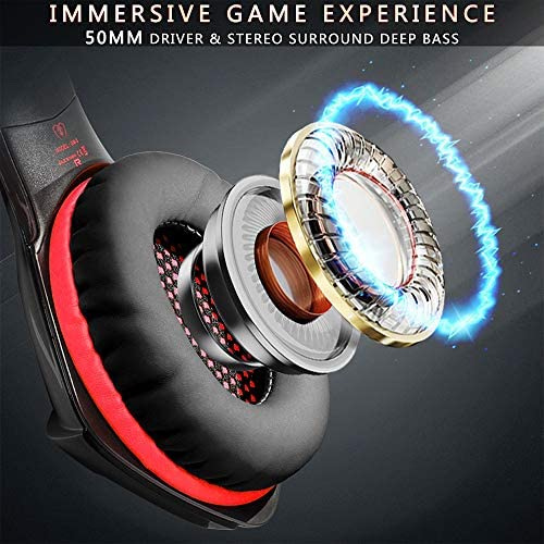 Beexcellent Gaming PS4 Headset, Stereo Surround Bass Gaming Headphones Over Ear with Noise Cancelling Mic, Supports Playstation 4 Pro Xbox One PC Mac