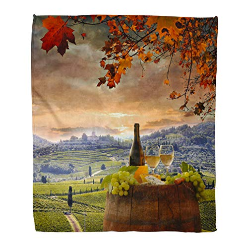 Emvency Throw Blanket Warm Cozy Print Flannel Red Food White Wine Barrel on Vineyard in Chianti Tuscany Italy Drink Comfortable Soft for Bed Sofa and Couch 50x60 Inches from Emvency