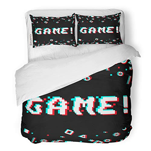 (Emvency Bedding Duvet Cover Set Game Phrase in Pixel 8 Bit Glitch VHS Effect Three Color Half Shifted Letters Ocassional and Goemetric Gaming 3 Piece Twin 68