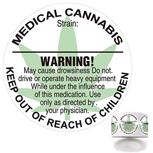 500 Contains Medical Marijuana Keep Out of Reach of Children Warning Labels Cannabis 1.5 Inch Round Circles Adhesive Stickers. ()