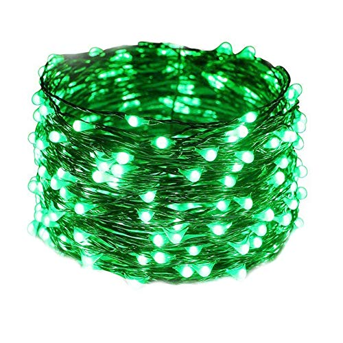 HAHOME Waterproof Led String Lights,33Ft 100 LEDs Indoor and Outdoor Starry Lights with Power Supply for Christmas Wedding and Party Decoration,Green ()