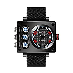 KONXIDO Men's Quartz Casual Watch, Mens Big Face Dual Display Military Digital and Analog Sport Wrist Watch Multifunction Waterproof Alarm Stopwatch Backlight Outdoor Watch KX-6362 (Red)