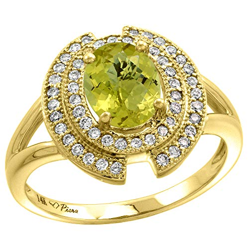 14k Yellow Gold Diamond Halo Genuine Lemon Quartz Engagement Ring Oval 8x6mm, size - Lemon Oval Ring Quartz
