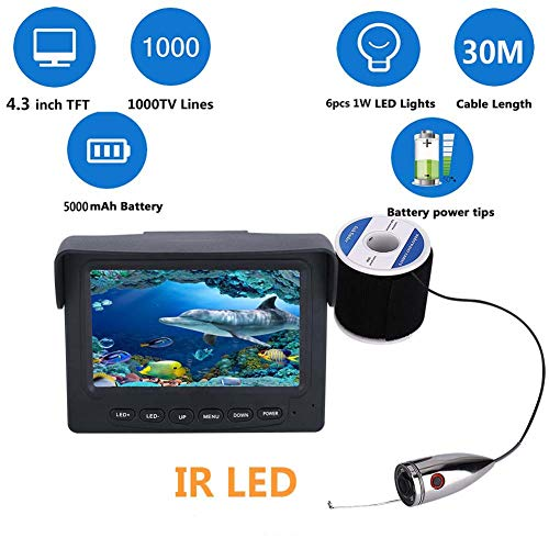 MBEN 1000tvl Underwater Fishing Video Camera Kit,30M 6 PCS 1W IR LED Lights with 4.3