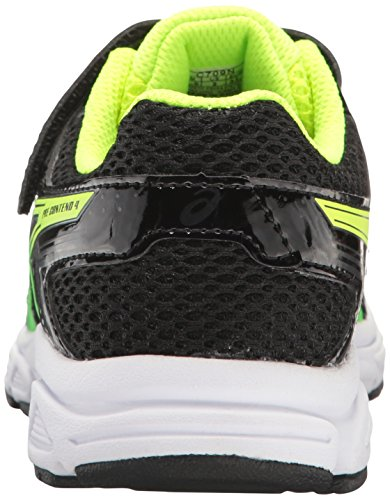 ASICS Boys Pre-Contend 4 PS Running Shoe, Black/Green Gecko/Safety Yellow, 13 M US Little Kid