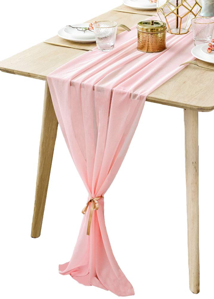 BOXAN Gorgeous Misty Rose Table Runner 30x120 Inch for Pink Romantic Wedding Decor, Bridal Shower, Baby Shower, Birthday Party Cake Table Decorations