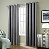 FirstHomer HOME Solid Matt Heavy Velvet Curtain Drape Panel Blackout Super Soft Nickle Grommet Top Grey 50Wx108L Inch (one Panels)Collection Theater| Bedroom| Living Room