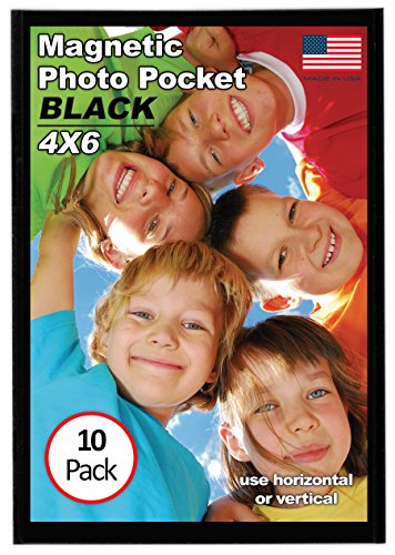 Magtech Magnetic Photo Pocket Picture Frame, Black, Holds 4