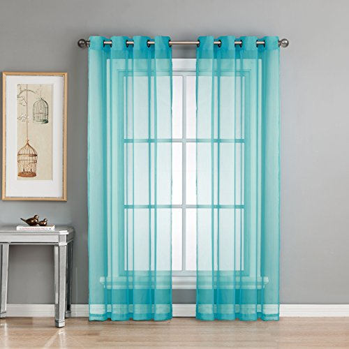 Window Elements Diamond Sheer Voile Extra Wide 56 x 84 in. Grommet Curtain Panel, Turquoise For Sale