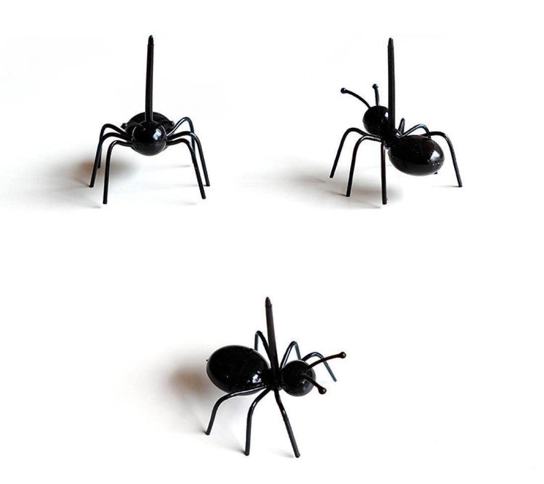 prevently nueva Creative Fashion Cute Mini Ant fruta tenedor Newest vajilla de uso m/últiple para aperitivos para tartas tenedores de postre para fiesta de cocina alimentos frutas tenedores negro