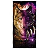 Wolf Dreamcatcher Cotton Beach Towel