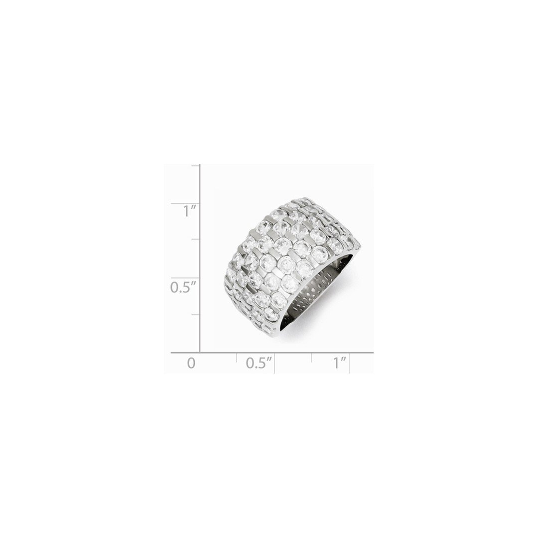 ICE CARATS 925 Sterling Silver Cubic Zirconia Cz Wide Wedding Ring Band Size 8.00 Fine Jewelry Ideal Gifts For Women Gift Set From Heart by ICE CARATS (Image #2)