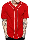red and white shirt - Hat and Beyond Mens Baseball Button Down Jersey Hipster Hip Hop T Shirts 1UPA01 02 (Medium, Red/White)