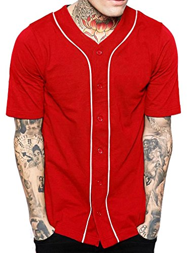 Hat and Beyond Mens Baseball Button Down Jersey (Medium, 1up01_red/White) ()