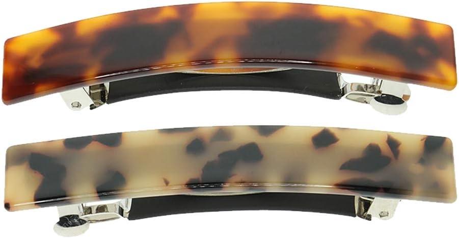2 piezas vintage delgado largo francés pasador, fuerte soporte de cola de caballo clip para el pelo, estampado de leopardo