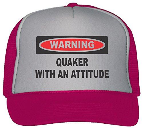 T-ShirtFrenzy Quaker With An Attitude Trucker Hat Cap Hot Pink