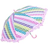 RainStoppers W104CHSTHRT Girl's Heart Stripe Print Umbrella with Ruffle, 34-Inch