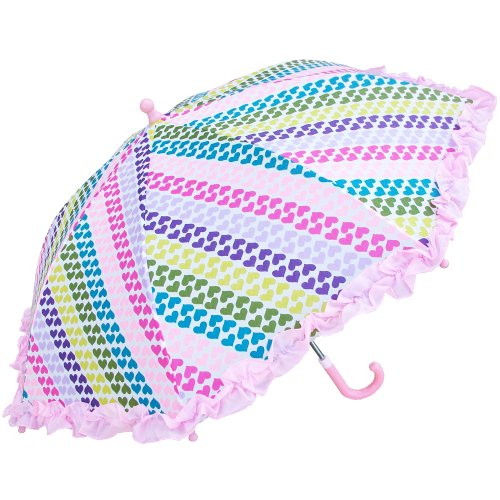 Price comparison product image RainStoppers Girl's Heart Stripe Print Umbrella with Ruffle, 34-Inch
