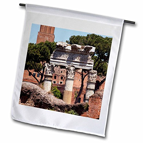 3dRose Danita Delimont - Italy - Forum of Julius Caesar, Trajan Market in Background, Rome, Italy - 12 x 18 inch Garden Flag - Forum Caesars