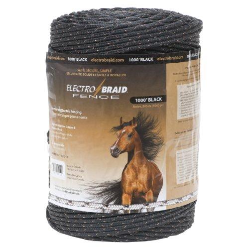 ElectroBraid PBRC1000B2-EB Horse Fence Conductor Reel, 1000-Feet, Black (Wire Fence Horse)