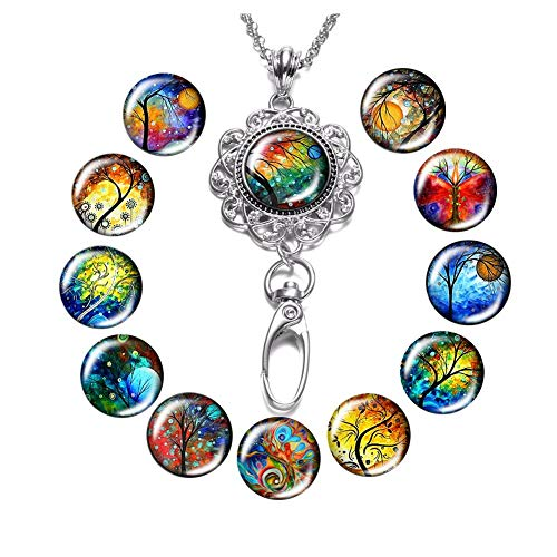 Tree and Life Lanyard Necklace Snap Button Charm Necklace Office Lanyard ID Badges Holded Filigree Round Pendant Necklace Clip (E-Tree)