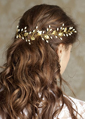 FXmimior Wedding Bridal Vintage Leaf Headband Headpiece Tiara Bride Hair Accessories (silver)