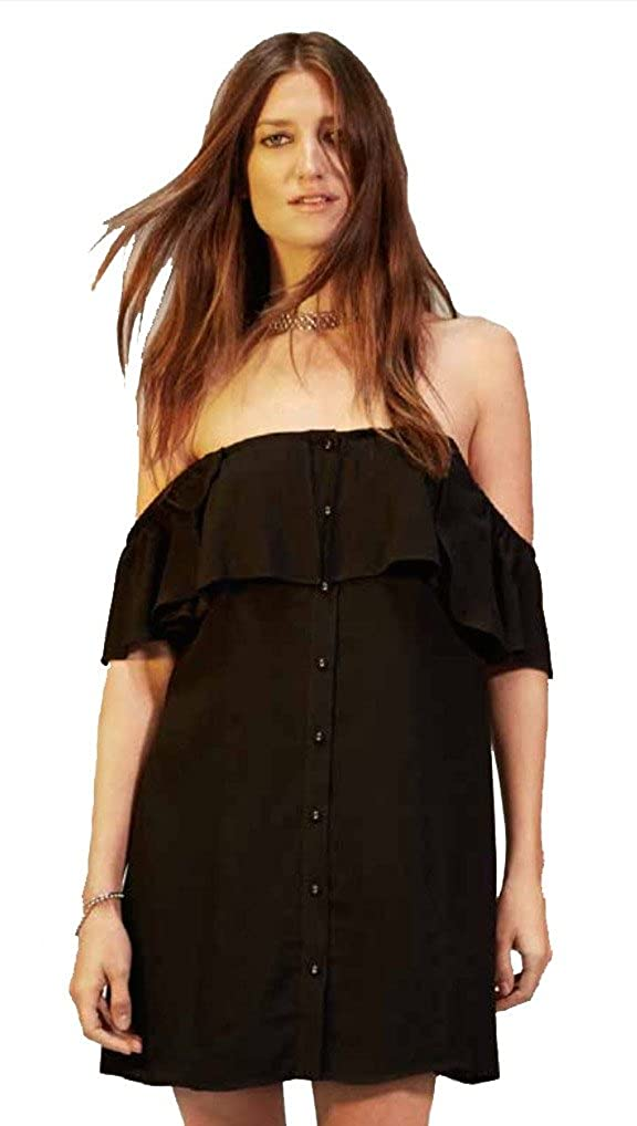 bb78e20ee964 Privacy Please Norval Off Shoulder Button Mini Dress Black at Amazon  Women s Clothing store