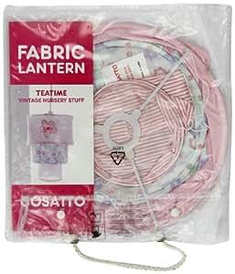 Cosatto - Pantalla de tela para lámpara de techo, diseño de flores y varios estampados, color rosa y blanco