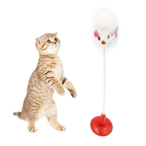 Juguetes para gatos Yiitay divertido ratón falso con plumas y ventosa inferior
