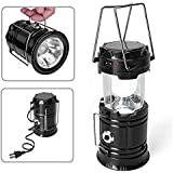 Upmall Camping Lantern,Solar Rechargeable LED Tent Light & Handheld Flashlight in the Bottom,Collapsible Portable Outdoor Survival Lamp Torch for Hiking Fishing Emergency (Black)