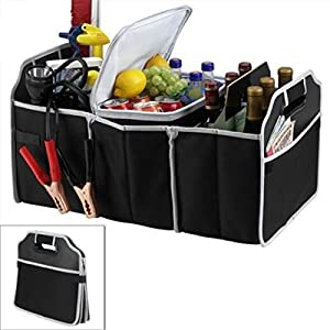 TRADERPLUS Trunk Cargo Organizer Heavy Duty Folding Caddy Storage Collapse Bag Bin for Auto Car Truck SUV