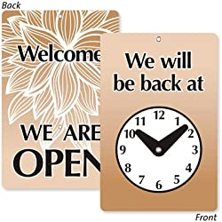 SmartSign Will Be Back/Welcome We are Open Two Sided Be Back Clock Sign | 7.75 x 4.75 Plastic