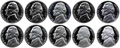 1970 S - 1979 S Jefferson Nickel Gem Proof Run 10 Coins US Mint Decade Lot Complete 1970's Set Uncirculated