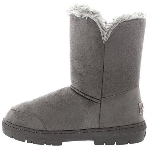 nieve Button Mujeres Gris alineada del piel Doble la botas totalmente impermeable invierno de FwzZq