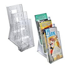 Azar Displays 252303 Three-Tier Tri-Fold Size Brochure Holder for Counter, 2-Pack