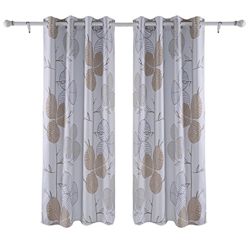 Deconovo Grommet Window Curtain Leaf Printed Window Curtains Blackout Curtain for Living Room 52 x 84 Inches Brown 2 Panels (Blackout Leaf Curtains)