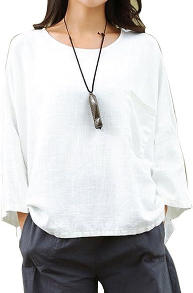 Juleya Mujer Cuello Redondo Camisetas - Manga 3/4 Camisa Oversize T-Shirt Suelto Casual Jersey Loose Camisetas Blusas Tops Blanco 2XL: Amazon.es: Ropa y accesorios