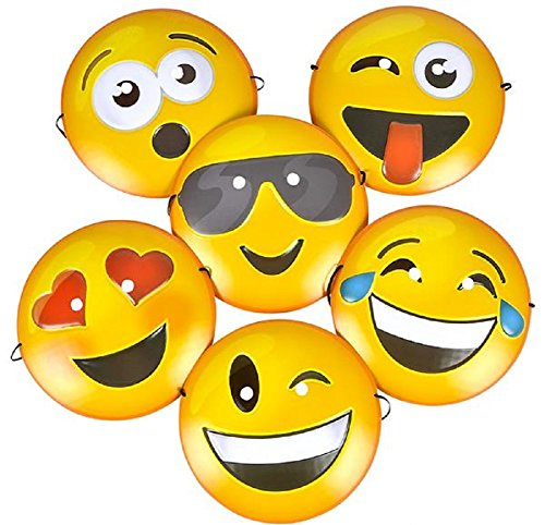 Novelty Treasures Expressive Smiley Face Emoji Plastic Masks