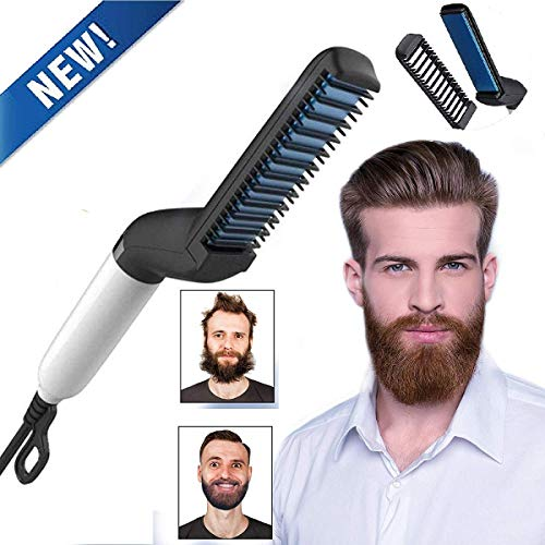 Electric Hair Comb Beard Straightener for Men,BEENLE Curly Hair Straightening Brush with Side Hair Detangling,Hair Straightening Comb for Men Hair Styling -