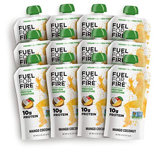 Fuel For Fire  Vegan Mango Coconut 12 Pack Fruit amp Plantbased Protein Smoothie Squeeze Pouch | Great for Workouts Kids Snacking  GlutenFree SoyFree No Added Sugar 45 ounce pouches