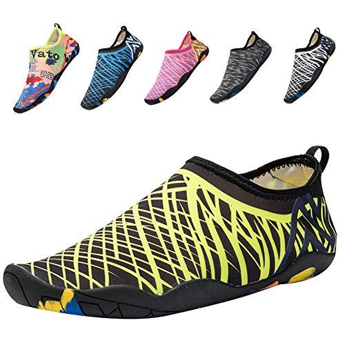 QTMS Damen Mens Lightweight Quick Dry Wasser Aqua Schuhe für Schwimmen, Wandern, Yoga, Strand, Park, Fahren, Surf Gelb