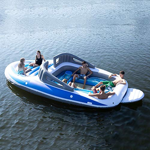 Sun Pleasure 6-Person Inflatable Party Island Bay Breeze Boat Island ()