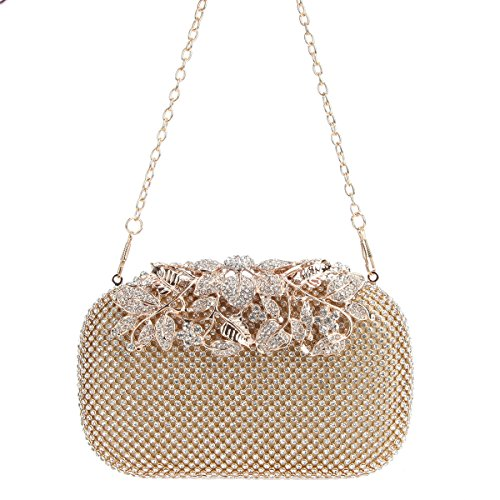 Black Purses Evening Rhinestones Crystal Clutch Gold With Bonjanvye Ab Bags Flower pfqw4f8