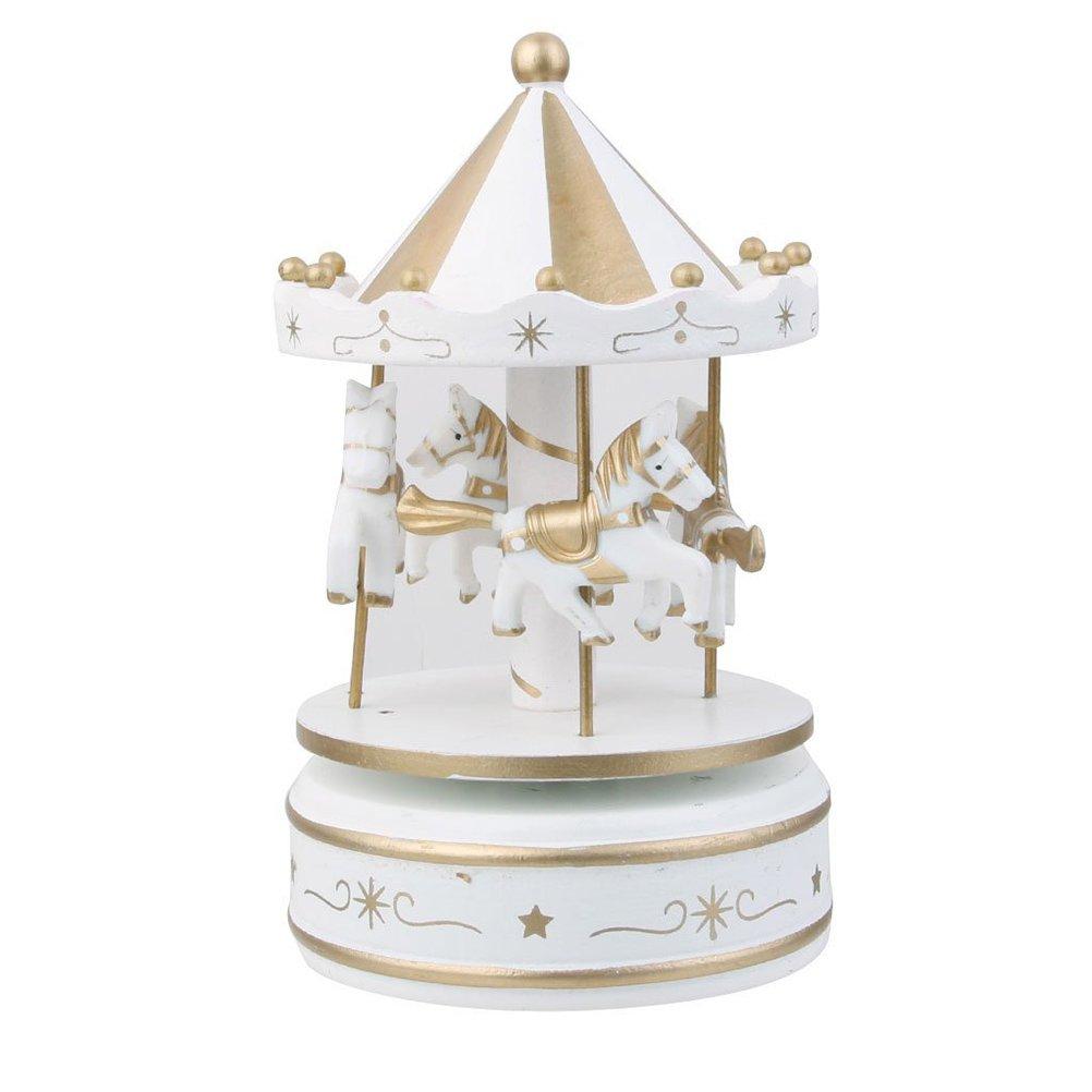 Tinksky Wooden Merry-Go-Round Carousel Wind Up Music Box Kids Gift Christmas Birthday Gift for Children (White)