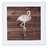 3dRose Russ Billington Nautical Designs - White Painted Flamingo on Brown Weatherboard- Not Real Wood - 22x22 inch quilt square (qs_261827_9)